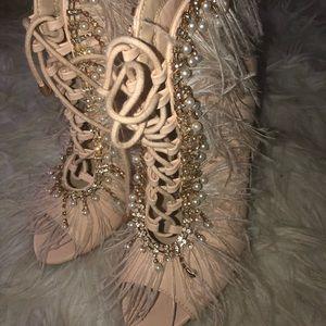 Cream Ostrich Bootie Heel